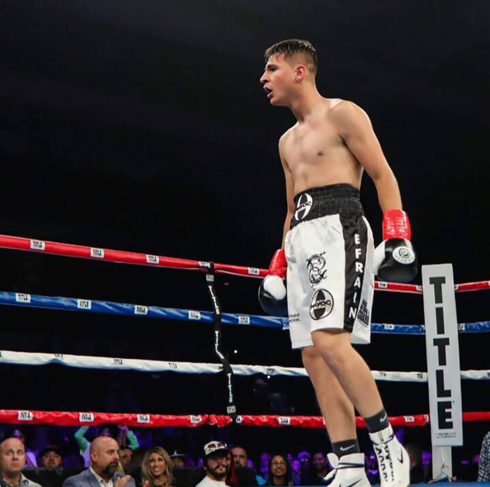 SPC Efrain Morales in the ring during a fight in March 2017. Photo courtesy SPC Efrain Morales