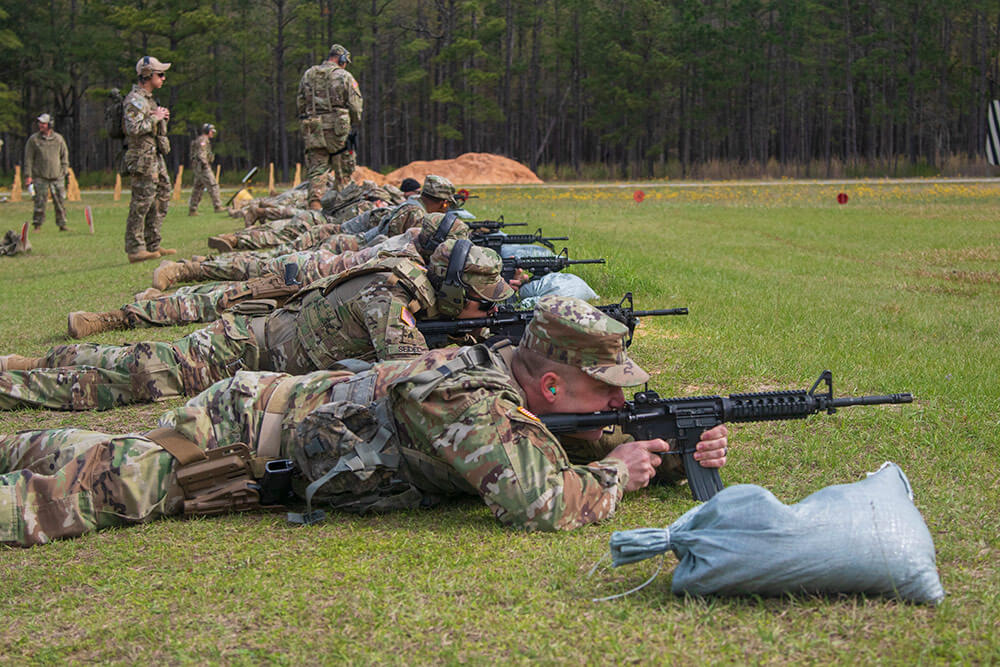 Georgia Army National Guard Soldiers conduct live-fire drills using Battlesight Zero settings on their M4 weapons systems during the opening of the Georgia Army National Guard Small Arms Leader Course at Fort Stewart, Ga., March 2019. Georgia Army National Guard photo by SFC R.J. Lannom Jr.