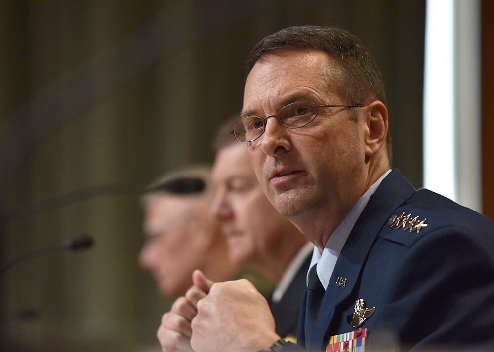 Gen Joseph Lengyel, chief of the National Guard Bureau, testifies at a hearing to review the 2019 Budget Request for the National Guard and Reserve forces before the Senate Appropriations Committee Subcommittee on Defense, in Washington, D.C., April 2018. U.S. Army National Guard photo by SSG Michelle Gonzalez