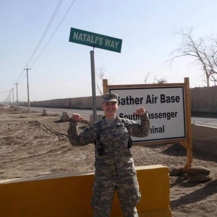 WO1 Natalie Wamsley in Baghdad, Iraq, at Victory Base Camp, 2011. Photo courtesy WO1 Natalie Wamsley