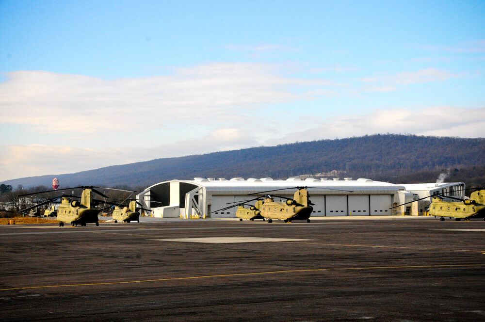 CH-47 Chinook helicopters parked on Muir Army Airfield, home of the Eastern Army National Guard Aviation Training Site, January 2019. Pennsylvania Army National Guard photo by CPT Travis Mueller