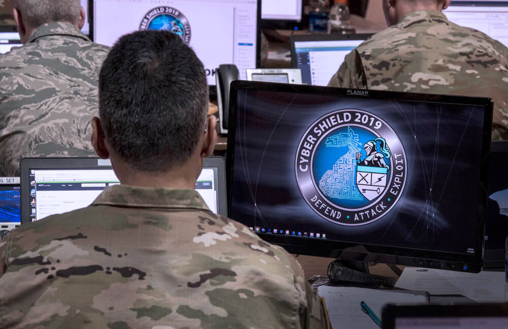 National Guard Soldiers, Airmen and industry partners conduct network surveillance at Camp Atterbury, Ind., April 2019, during Cyber Shield 19, the Nation's largest unclassified cyber defense training exercise. Ohio Army National Guard photo by SSG George B. Davis