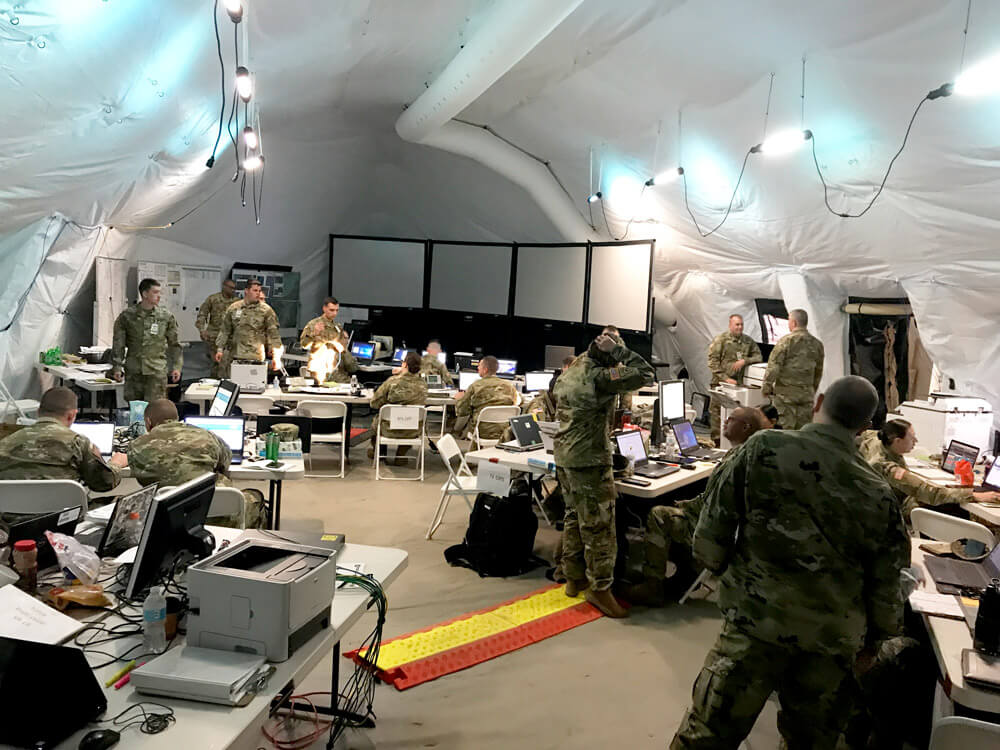 Members of the 46th Military Police Command, Michigan Army National Guard, also known as Task Force 46, perform command and control functions for National Guard, Reserve and active duty Army service members during Vibrant Response 2019. Michigan Army National Guard photo by SFC Helen Miller