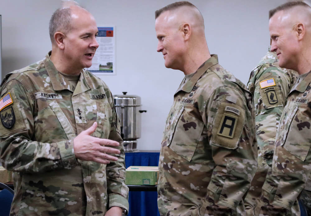 Director of Army National Guard LTG Timothy J. Kadavy (left) and First Army Commanding General LTG Thomas James, discuss strategy during a working lunch at the Green Tab Commanders Conference at the Professional Education Center in Little Rock, Ark. U.S. Army photo by SGT Aaron Berogan