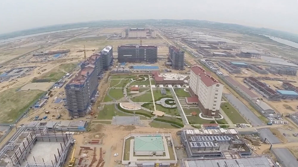 Aerial view of Camp Humphreys while still under construction, July 2014. U.S. Army photo by Edward N. Johnson