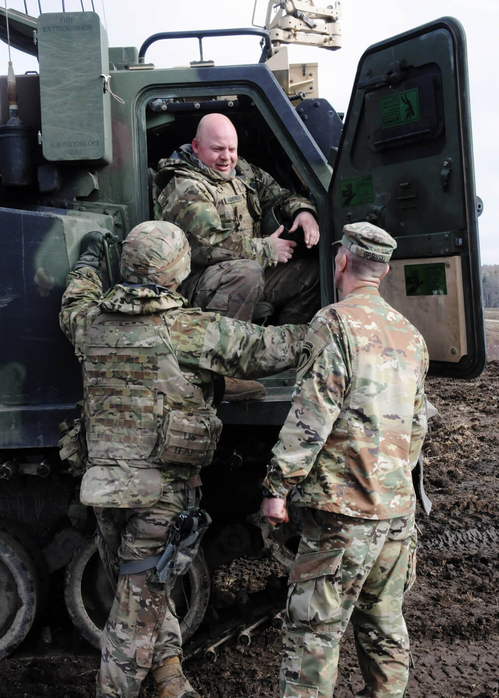 USAREUR Army National Guard Deputy Commanding General MG John Gronski meets with South Dakota Army National Guard Soldiers assigned to Bravo Battery, 1st Battalion, 147th Field Artillery Regiment, during exercise Dynamic Front 19 at Grafenwoehr Training Area, Germany, March 2019. North Carolina Army National Guard photo by SFC Craig Norton