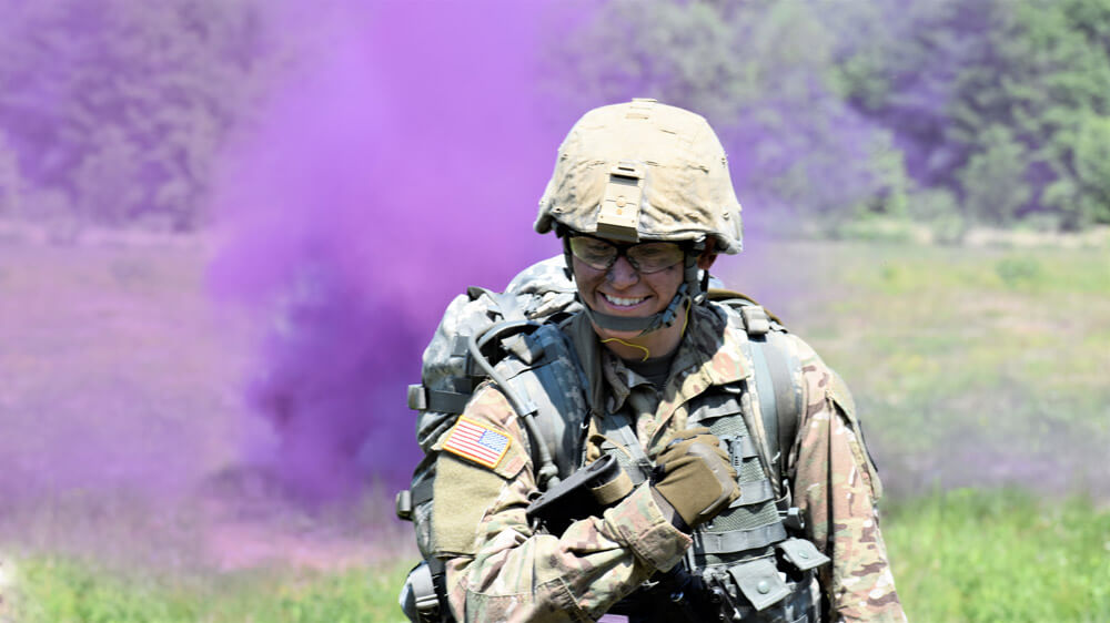 SSG Cassandra Black participates in field exercises during the Army National Guard Region II Best Warrior Competition held at Camp Dawson, W. Va., May 2019.