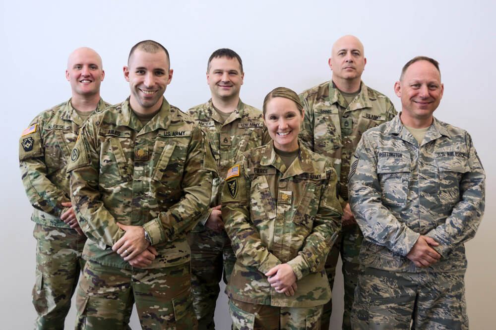 Members of the Pennsylvania National Guard who joined State partners at the Pennsylvania Emergency Management Agency May 21 to reassure voters of the security of the commonwealth's primary election (from left to right) SGT Joshua Kleese, MAJ James Ailes, SSG Andrew Clancey, MAJ Christine Pierce, SFC Elefterios Ginnis, MSgt Aaron Whittington. Pennsylvania Army National Guard photo by SSG Zane Craig