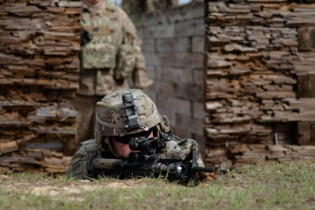 Alabama Army National Guard Soldiers, with the 1-173rd Infantry Regiment, take part in a live-fire trench warfare exercise at Fort Benning, Ga., March 2019. Alabama Army National Guard photo by SSG William Frye